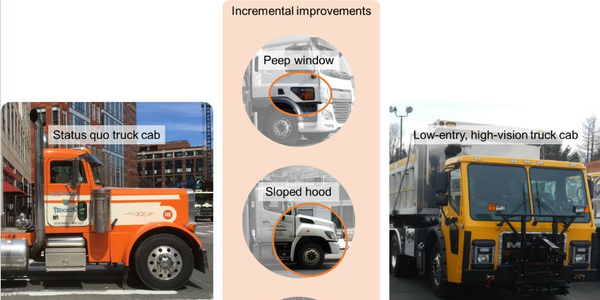 New York City's high vision trucks feature a lower entry, cab-forward design.