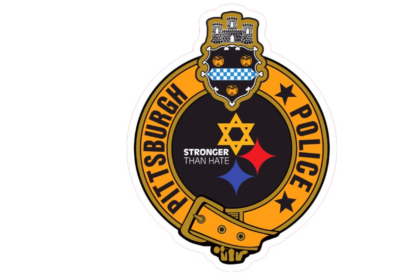 The decal references a shooting that took place at asynagogue in October.