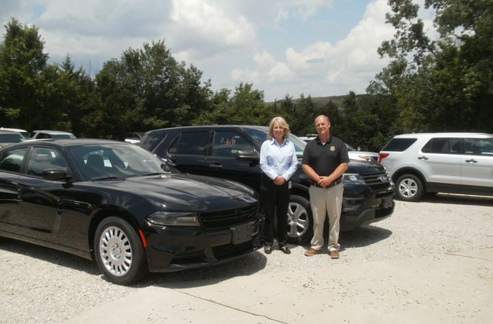 Cathy Brown, division director, and Todd Diehl, fleet sales manager, lead the Missouri State Highway Patrol's efforts to sell patrol cars directly to police fleets.