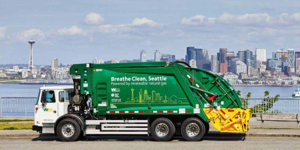 Seattle Public Utilities' green fleet will include 91 Waste Management trucks powered by...