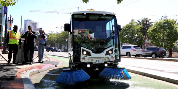 The City and County of San Francisco has purchased three new sweepers for its bike lanes.
