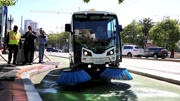 The City and County of San Francisco has purchased three new sweepers for its bike lanes.  - Photo via City and County of San Francisco