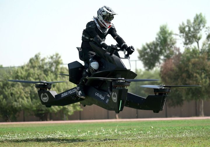 The Hoverbike S3 2019 can be ridden by an officer or piloted remotely as a drone.
