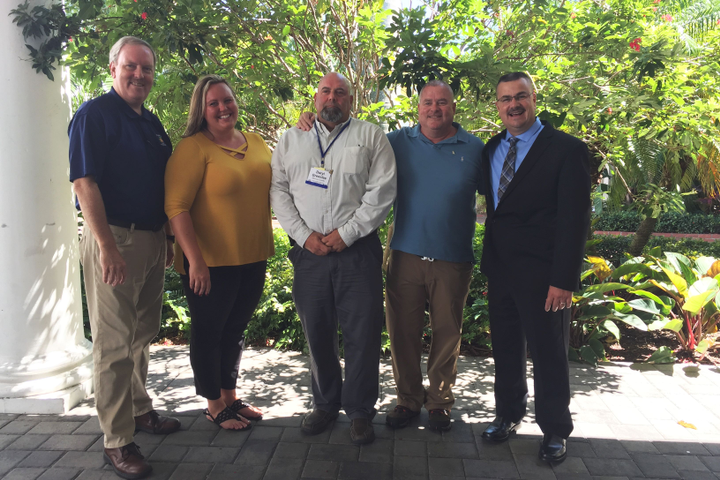 The incoming board consists of (l-r) Bryan Lucas, secretary; Brianne Hayes, treasurer; Daryl Greenlee, president; Gary McLean, vice president; and Sean Williams, past president.