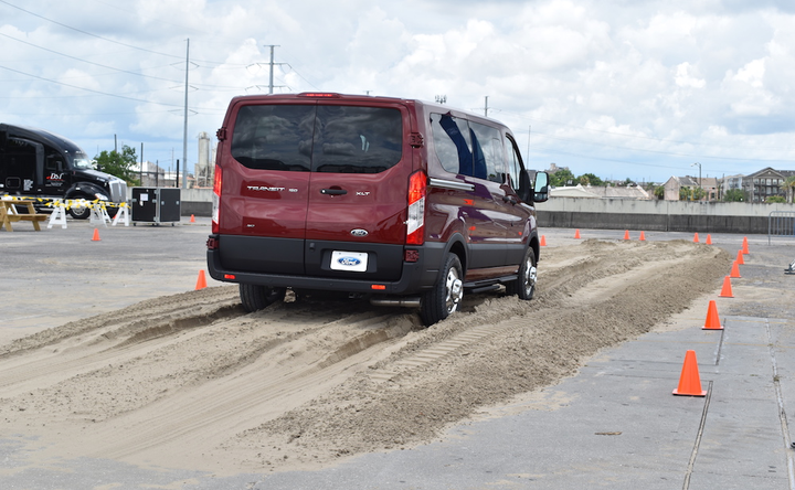 Ford demonstrated its all-wheel-drive Transit on a dirt track.