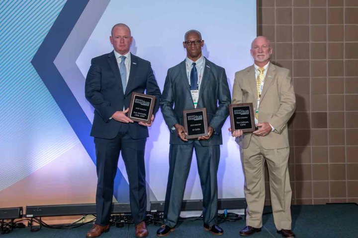 (l-r) Ron Kennedy, Al Curtis, and Tim Calhoun were recognized during the ceremony.  - Photo byYvette Ponthier