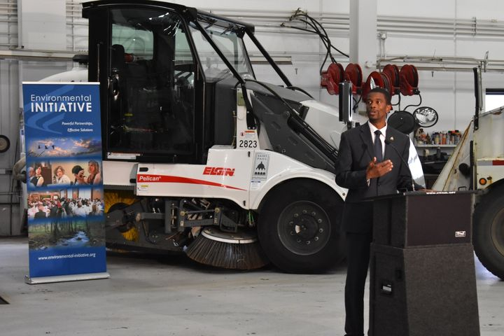 Mayor Melvin Carter unveiled the new Public Works vehicles at an event on Monday.