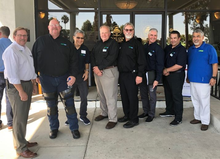 The MEMA NorCal board, which organized the event, consists of (l-r) David Worthington, secretary; David Renschler, vice president; Tom Fung, treasurer; Keith Leech, chairman; Don Jones, sergeant at arms; Dan Sunseri,  membership coordinator; Carlos Velasquez, sergeant at arms; and Kevin Myose, associate membership coordinator.