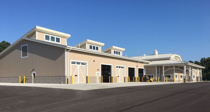 The Forest Preserve District of DuPage County's fleet facility exterior was designed to fit its surroundings.