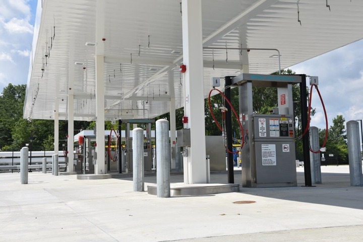 The CNG fuel station can dispense compressed natural gas to six vehicles simultaneously.