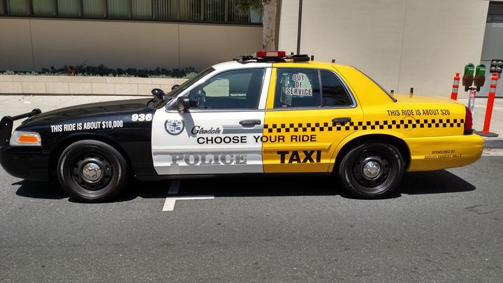 The City of Glendale (Calif.) Police Department's DUI awareness vehicle is designed to look like a taxi and patrol car. Photo courtesy of Glendale PD