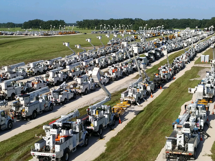 In north central Fla., more than 7,000 pieces of equipment are ready to help Duke Energy restore power after the hurricane.