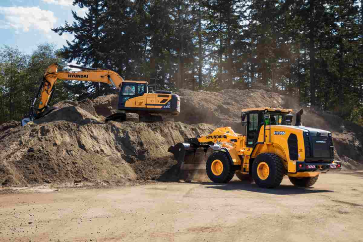 Pictured areHyundai's HL955 and HX220L earthmoving equipment.  - Photo courtesy of Hyundai Construction Equipment Americas