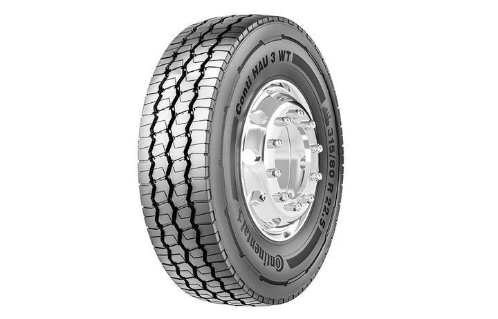 The clearly labeled Conti HAU 3 WT is a heavy truck tire, designed for all-position use, in urban applications, for waste transport.