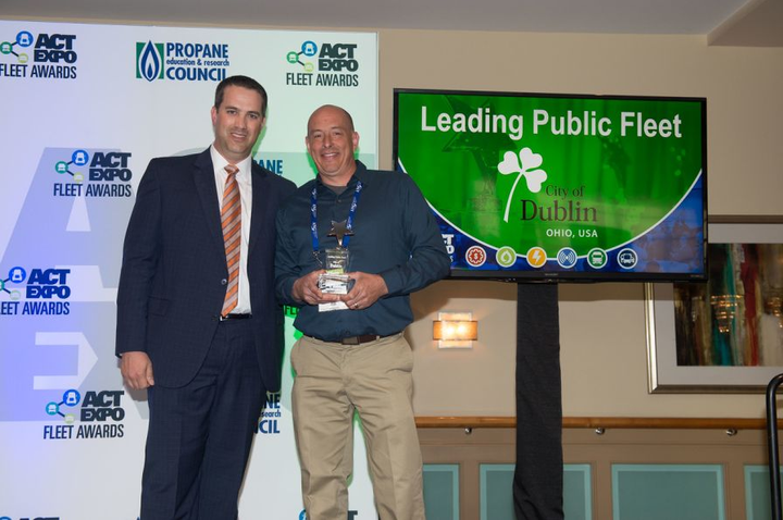 Pictured are Mike Bliss (right) from the City of Dublin and Erik Neandross, CEO of Gladstein, Neandross & Associates (GNA). Photo courtesy of ACT Expo