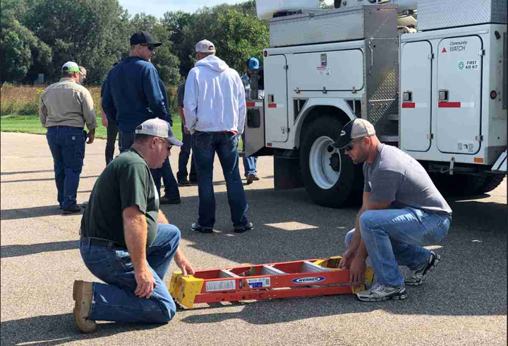 Electric utility employees receive training on correct movements to reduce injuries.  - Photo courtesy of MREA
