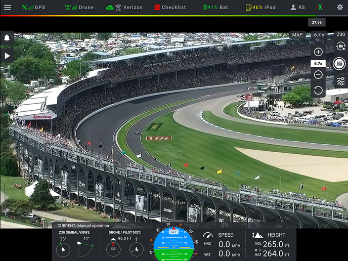 Screen shot taken from DroneSense Pilot app during flight operations during the 2019 Indy 500.