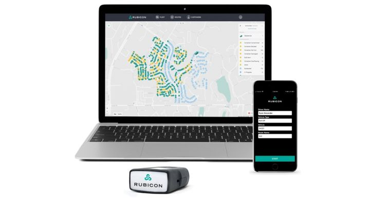Rubicon SmartCity phone and pod technologyfeed waste, recycling, and vehicle data back to the portal, which provides a live map of the city's entire operations alongside performance statistics and real-time insights.  - Image courtesy of Rubicon Global