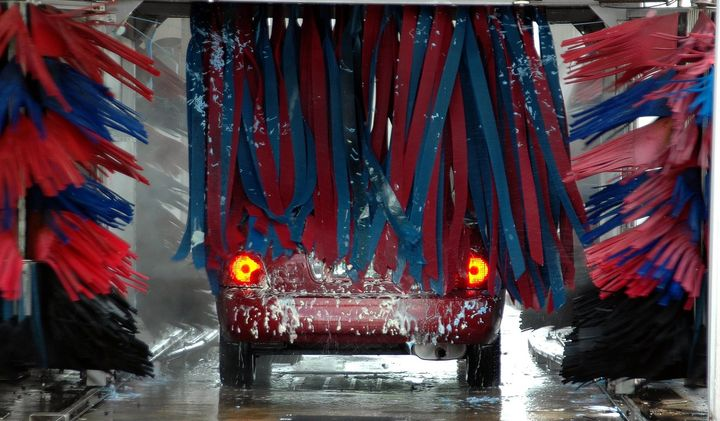 The vehicle wash is large enough to accommodate a bus or large plow truck. - Photo of a car wash via Pixabay