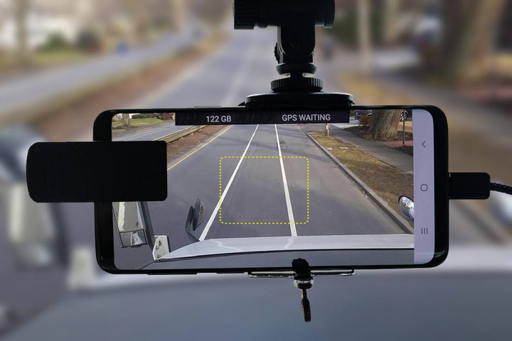 RoadBotics' pavement assessment technology works by mounting a smartphone to the windshield of a street sweeper, turning the sweeper into a mobile data collection platform.