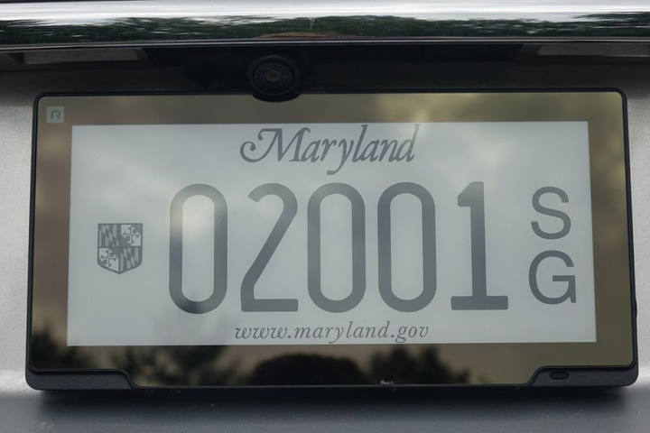 Reviver's digital license plate will be tested on 22 state fleet vehicles.  - Photo courtesy of Maryland DOT MVA