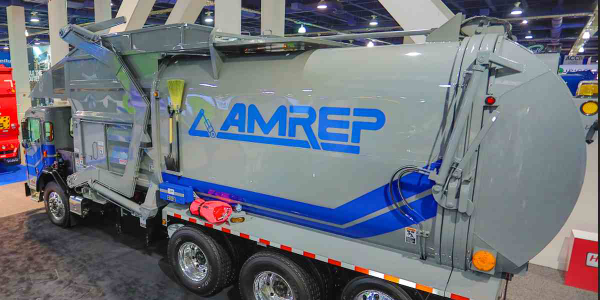 Amrep's ultra-heavy-duty front-end loader ensures durability in handling heavier loads.