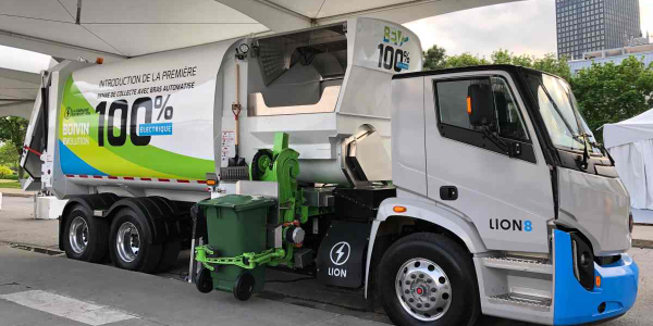 The electric garbage truck has a 249-mile (400 km) range.
