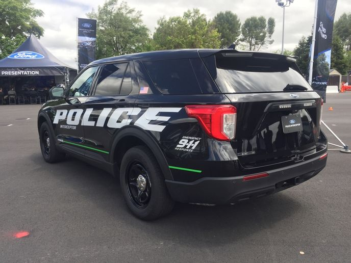The 2020 Police Interceptor Utility is engineered to meet Ford's 75-mph rear-impact crash test.