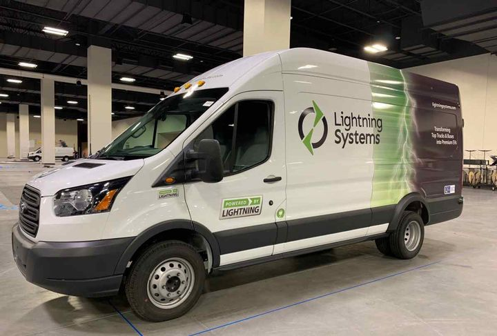 The Generation 2 powertrain for Ford Transit vans has a range of 60 or 120 miles, depending on battery configurations. - Photo courtesy of Lighting Systems