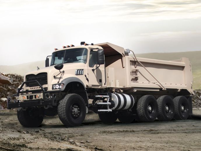 The Mack Defense M917A3 Heavy Dump Truck will be on display at the Showcase for Commerce.