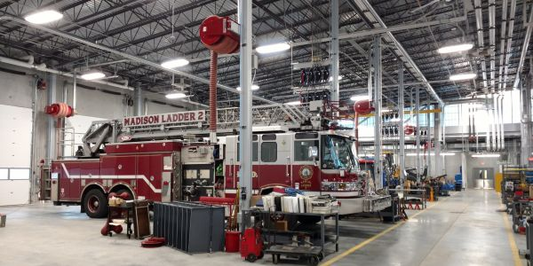 The repair facility can house vehicles as large as ladder trucks.