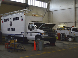 The Police Department's fleet includes dive trucks that carry diving equipment for water.