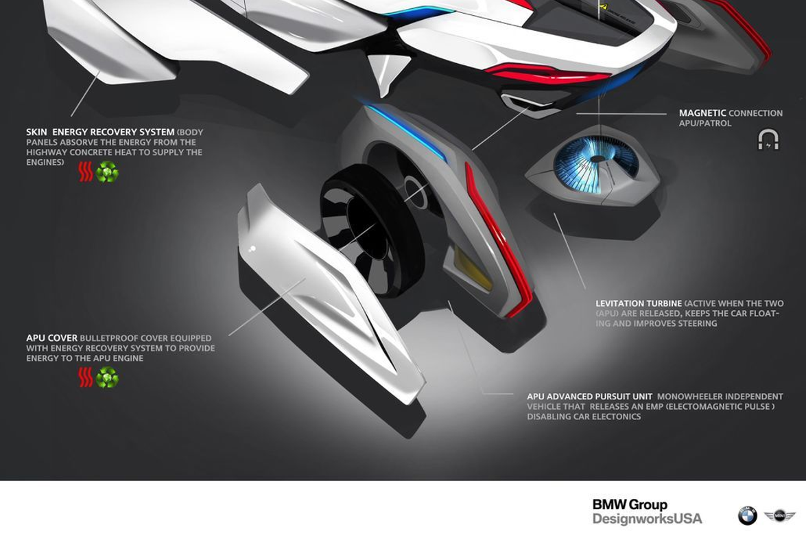 BMW Group DesignworksUSA. The BMW Group's E-Patrol (Human-Drone Pursuit Vehicle) is designed for...