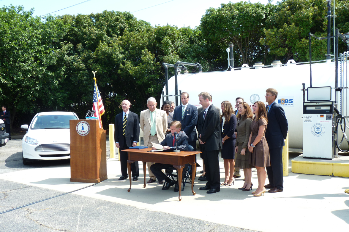 Virginia's Governor Bob McDonnell signs two bills and an executive order that promote the use of...