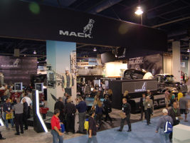 Mack had a large display, showing powertrains, different service bodies, and truck models. Mack...