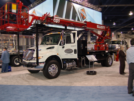 This International DuraStar is upfitted with an Elliott HiReach aerial work platform.