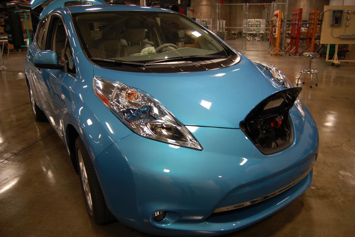 The Nissan LEAF's charging outlet.