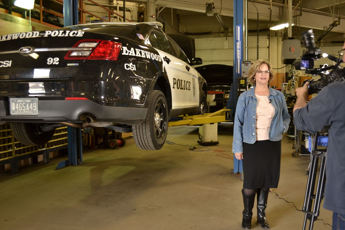Nina Hoffert, fleet manager for the City of Lakewood, talks in front of the camera about the...