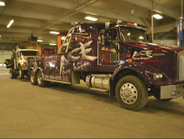 The city's contracted towing company brings in a truck for repair.
