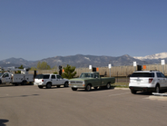Pike's Peak can be seen from the joint city and utility fleet facility.