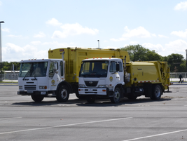 Some of the City's refuse trucks were on hand at the truck center during the tour.