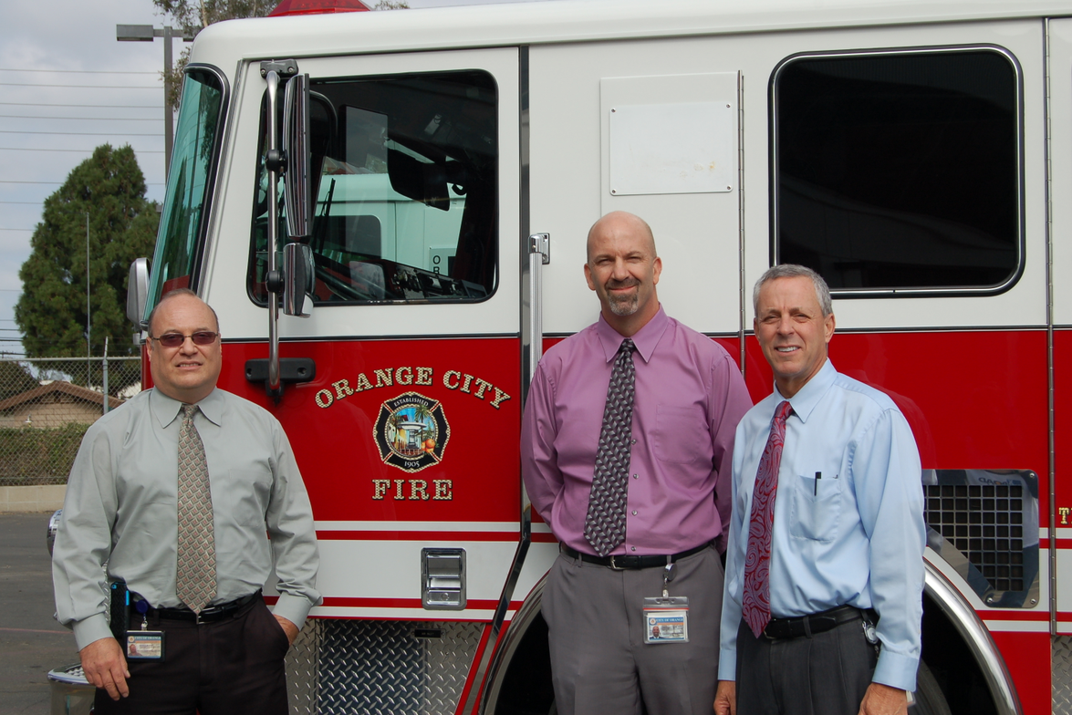 Pictured l-r are Keith Marian, fleet maintenance superintendent; Chris Saxe, deputy public works...