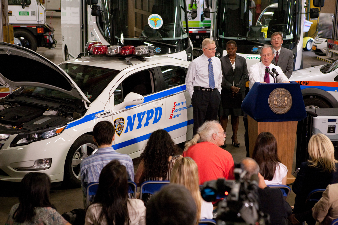 New York City Mayor Michael R. Bloomberg announces the addition of 50 new Chevrolet Volt...