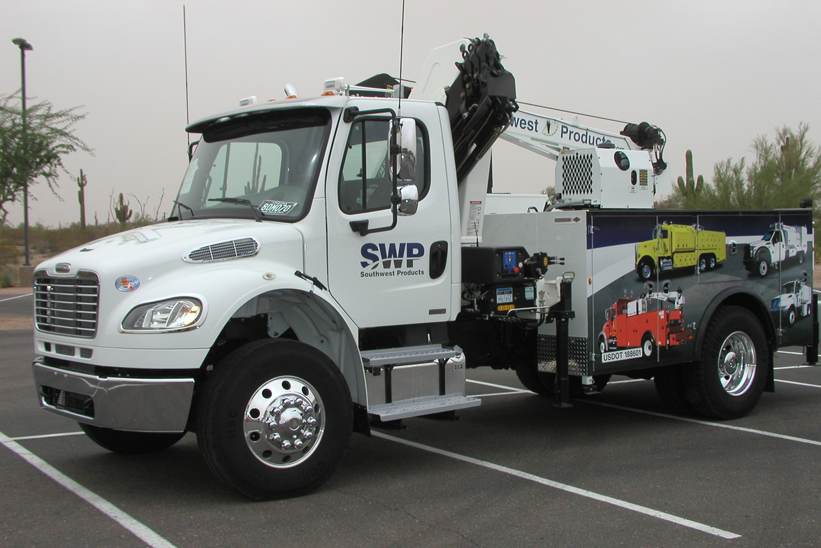 SWP also brought this Freightliner with a crane.