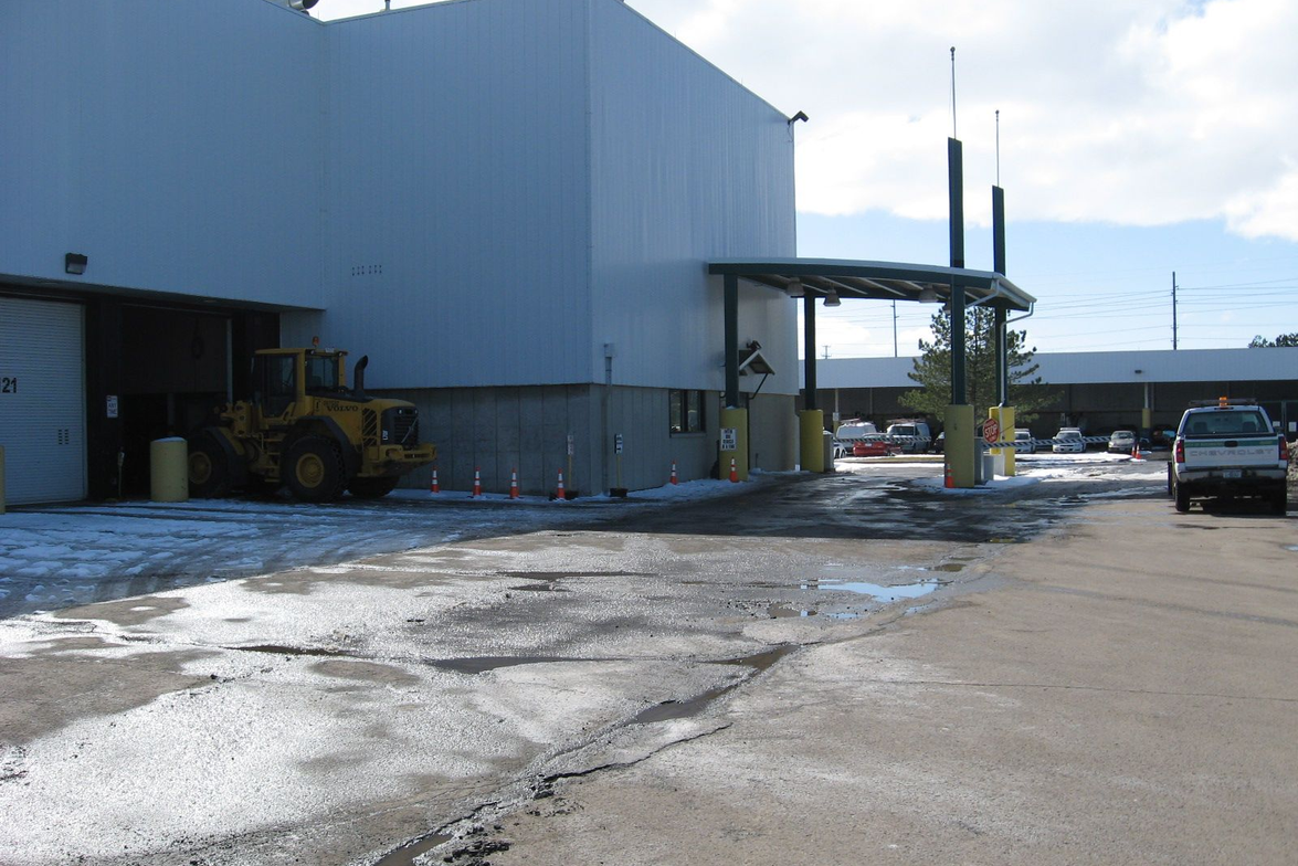 This is the customer drive-up area at Rochester's Equipment Services facility.