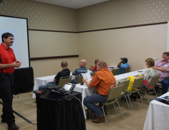 Joseph Rappa from Snap On Tools (at left) spoke about diagnostic tools for light- and heavy-duty...