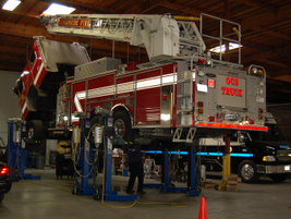 A Pierce 105-foot aerial ladder pumper is in for routine maintenance and repairs. This is one of...