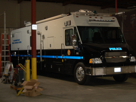 The Police Department's Mobile Command Emergency Response Unit includes a complete dispatch...