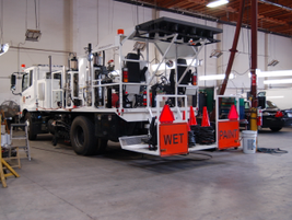 This paint striping truck, put into service in 2013, paints road stripes.