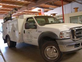 MME has a small fleet of service trucks, including this Ford F-550 truck. A service truck has a...